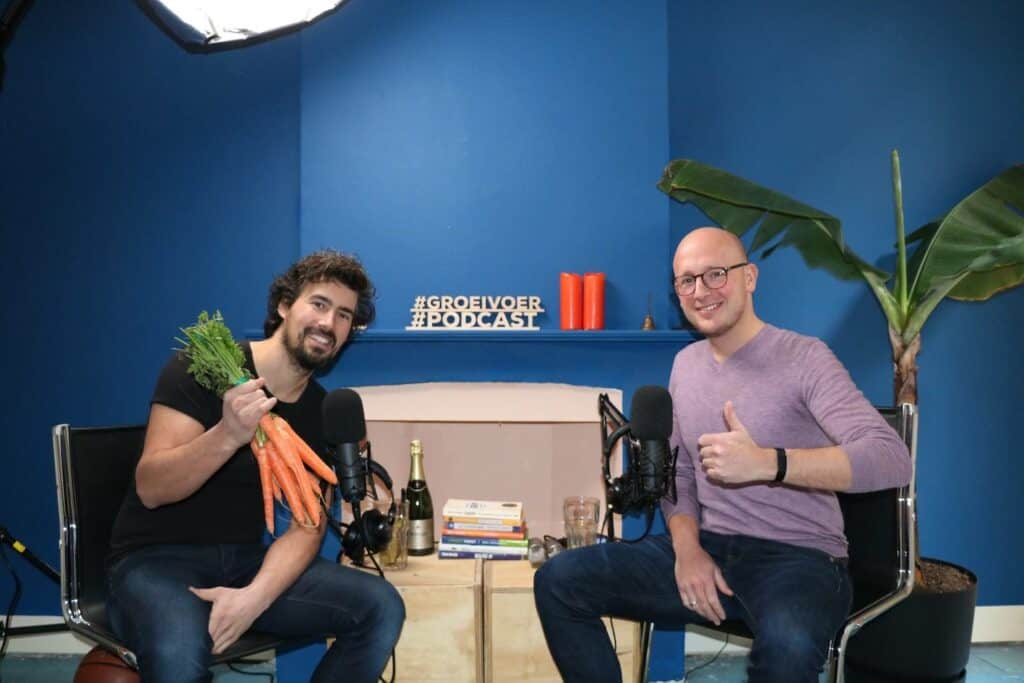 Bas Urlings en Gerhard te Velde in de Podcast opname studio