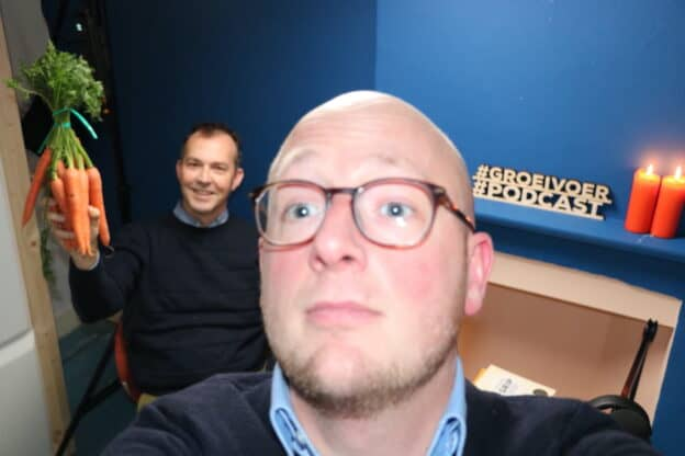 Albert Griffioen en Gerhard te Velde bij opnemen van de Groeivoer Podcast
